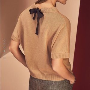 MASSIMO DUTTI knit cape style sweater with bow